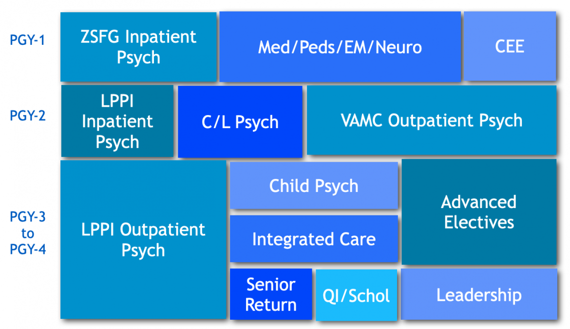 Clinical experiences timeline chart