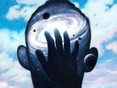 Illustration of hand touching a galaxy overlaid on a blank face
